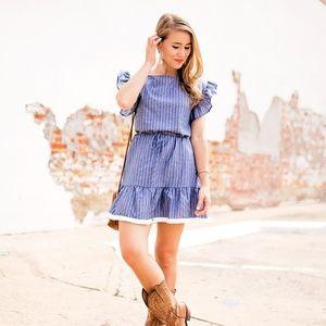 bp Dresses - NWT BP ruffle trim stripe cotton shift dress